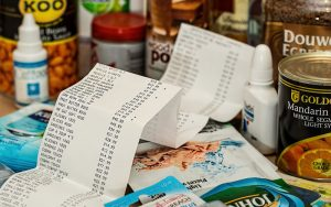 large receipt of food products
