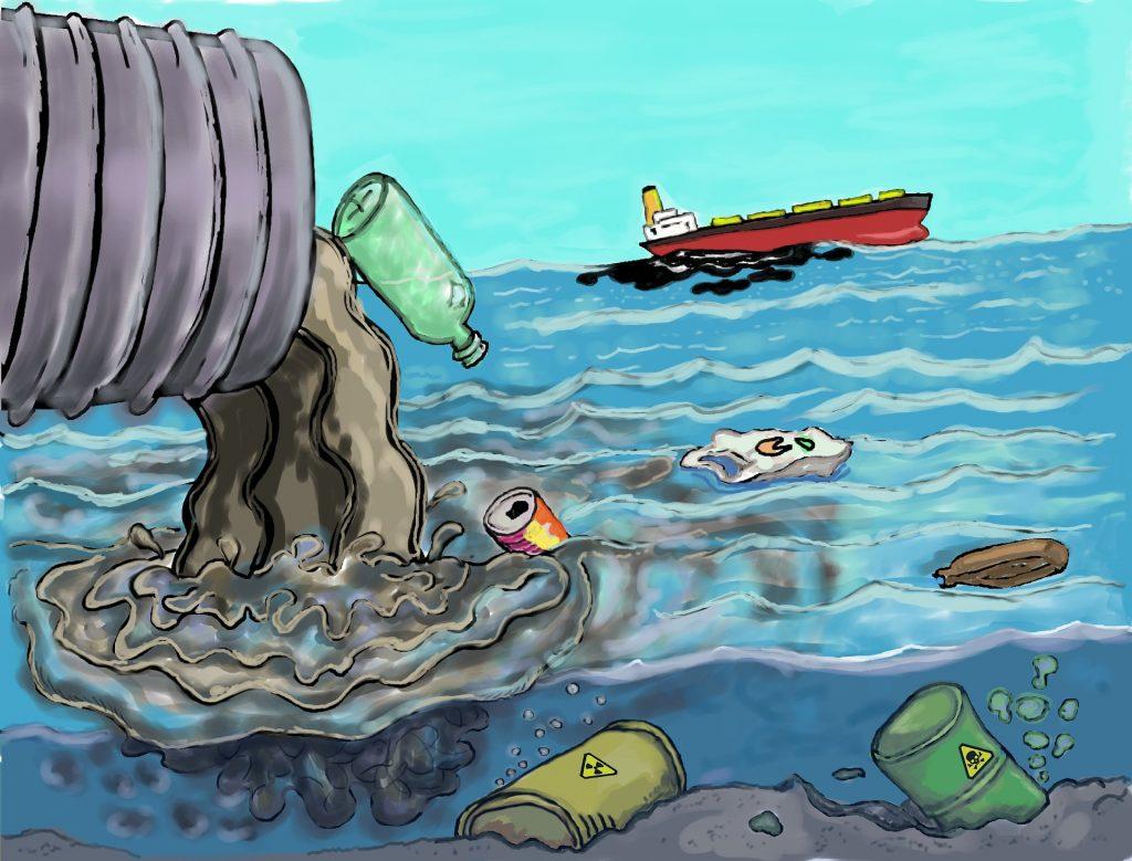illustration of pollution entering the ocean
